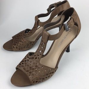 Shoes - Franco Sarto Brown Sandals With Wood Heel